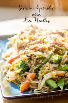 Sesame Vegetables with Rice Noodles I www.orwhateveryoudo.com I #recipe #stirfry #rice #noodles