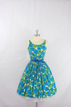 Vintage 1950's Sun Dress  Blue and Green floral cotton - by VintageFrocksOfFancy