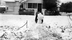 Winter wonderland in Chatsworth, January 1949. Snow is unusual in the San Fernando Valley, although old-timers say it was more common before all the development after the 1920's and 1930's. Chatsworth Historical Society. San Fernando Valley History Digital Library.