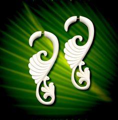 Fake Gauges  Eves curls  Bone Earrings by PrimalOriginals on Etsy, $23.00