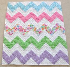 Summer Dream zig zag baby girl quilt.
