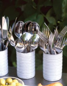 Party Decoration Ideas - Summer Party Ideas - Country Living. recycled tin cans. party decoration ideas, paint cans, summer parties, outdoor parties, cutlery, tin cans, mason jars, parti idea, soup cans