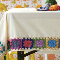 side tables, crochet granny squares, tea towels, tablecloth, mantel, crochet borders, crochet granni, crochet edgings, granni squar