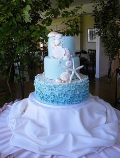 Ruffle Nautical Wedding Cake