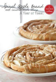 Spiral Apple Bread with Caramel Apple Glaze