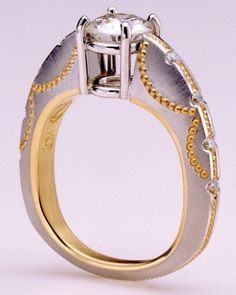 Zoltan David  Platinum with 22K Gold Inlay and 18K Gold Insleeve Wedding Engagement Bridal Ring