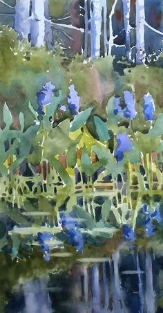 Jewels of the lake by Sarah Yeoman Watercolor ~ 20 x 10