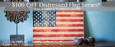 $100 OFF Distressed Flags printed on wood until 7/5/13.  www.photobarn.com