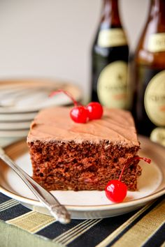 Chocolate-Cherry Beer Cake with Cocoa Beer Frosting