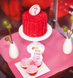 Gender reveal cake - love the red