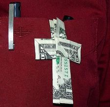 Origami money cross