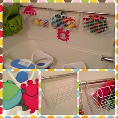 More bath toy storage - use utility wire baskets designed to hang on the underside of a shelf on a shower tension rod.  So much better air flow to dry out bath toys.
