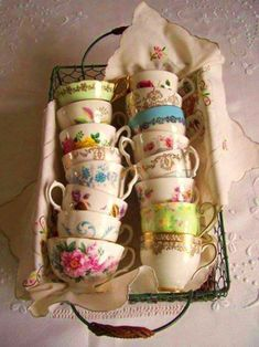 vintage teacups, tea time, shabby chic, teas, vintage china, display, wire baskets, tea cup, parti