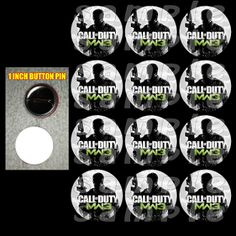 "CALL OF DUTY MW3 1"" BUTTONS"