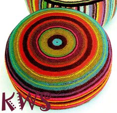 Vintage 70s LARGE Floor Pillow  PDF Crochet by KinsieWoolShop, $3.20