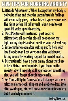 When your eyelids open, are you absolutely terrified? Have been woken up in the early hours to instant panic? Here are 5 useful tips for dealing with morning anxiety.  www.HealthyPlace.com