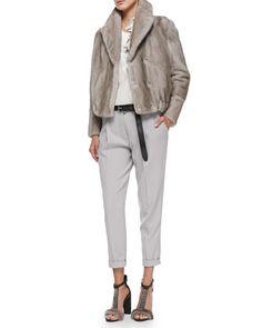 Mink Fur Blouson Jacket, Sweater with Petal Tank, Pleated Carrot Pants & Metallic Belt by Brunello Cucinelli at Bergdorf Goodman.