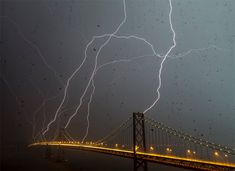 Storm in San Francisco...lightening hitting four towers of the Bay Bridge