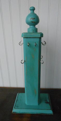 Jewelry Display Stand-Vintage-Repurposed-Preppy- Wood Jewelry Display-Teal Jewelry Stand-ONE OF A KIND-Jewelry Stand-Preppy Jewelry Holder