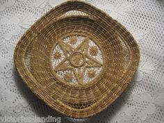 Vintage Woven Basket Sweetgrass with Intricate STAR Design & Handles