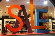 At sale time, make sure passers-by are in no doubt with these giant letters! 3-D, or wide bright tape on your window glass, or a mix, TGtbT.com says this will get them in!