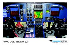"""Universal Avionics: RUAG Dornier DO-228 - (1) Display Suite: 3 EFI-890R 8.9"""" Flat Panel Displays; (2) Situational Awareness: 1 Vision-1 Synthetic Vision System; (3) Flight Management: 1 UNS-1F FMS with 5"""" CDU; (4) Radio Tuning and Communications: 2 Radio Control Units (RCU)"""