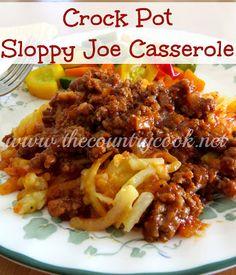 Crock Pot Sloppy Joe Casserole {it may not look pretty but the flavor is SO, so good!}