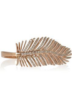 18-karat Rose Gold Diamond Feather Ring by Anita Ko