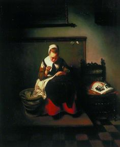 A Young Woman Sewing  by Nicolaes Maes 1655