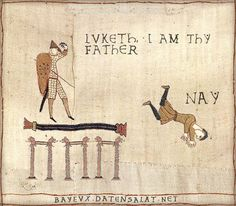 The Bayeux Tapestry is an embroidered cloth—not an actual tapestry—nearly 70 metres (230 ft) long, which depicts the events leading up to the Norman conquest of England concerning William, Duke of Normandy, and Harold, Earl of Wessex, later King of England, and culminating in the Battle of Hastings. #archaeology #memes #jokes #starwars