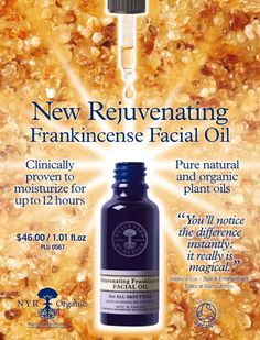 Rejuvenating Frankincense Oil.  Pure Natural and Organic Plant oils. Magic Notice the difference immediately!!!