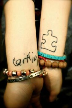 """Owner's story: """"These are my first tattoos and they mean so much to me! It's kind of an awkward angle, but wrist tattoos have to be the hardest to take a picture of! ha. On my left wrist is a puzzle piece, which is the symbol for Autism. On my right wrist is the signature of my 20 year old sister, Caitlin, in her handwriting. She's severely Autistic and she has been such an Inspiration in my life. If she can't talk, can't take care of herself on her own and can't live a normal life like every..."""