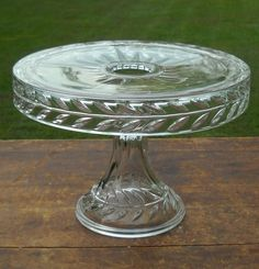 Vintage EAPG Clear Glass Pedestal Cake Stand Plate w Rum Well Star Burst Pattern | eBay