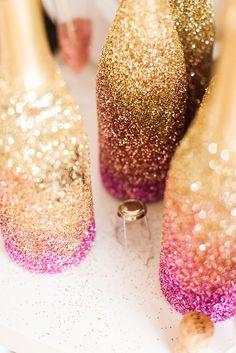 glitter ombre champagne bottles