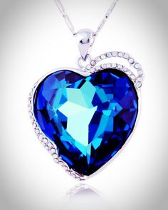 Love it, and buy it. Click to BUY.  Mesmerizing Titanic Blue Austrian Crystal Heart of Ocean Pendent Necklace. #bracelets #jewelry #jewellery #charms #beads #diy #discount #necklace #pendant #earring #rings #gift