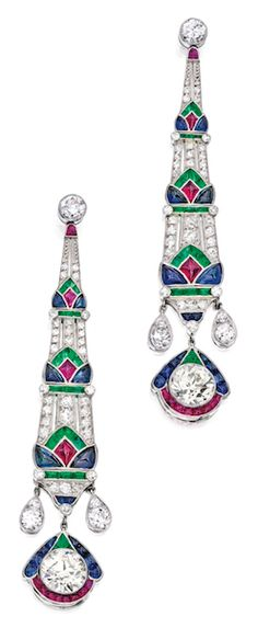 PAIR OF PLATINUM, DIAMOND AND COLORED STONE EARRINGS The Art Deco-style earrings suspending two old European-cut diamonds weighing approximately 4.75 carats, further set with numerous round, old European and single-cut diamonds weighing approximately 2.25 carats, decorated with buff-top rubies, sapphires and emeralds. (Art Deco Style)