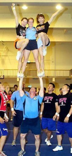 balance three girls above your head.   #cheerleadergirls #bestfriend #coachingcheer