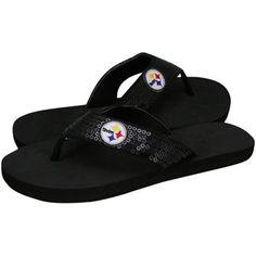 Pittsburgh Steelers Black Sequin Strap Flip Flops