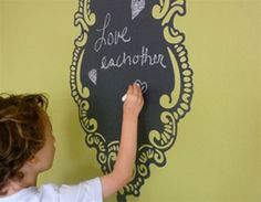 Love this Rocooco chalkboard wall sticker for kitchens, kids rooms, teen rooms, dorm rooms etc.! Discover more kids room decorating and organizing tips and ideas @ http://kidsroomdecorating.net