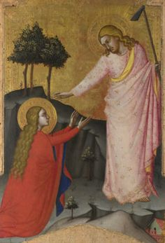 "Noli me tangere, meaning ""don't touch me"" / ""touch me not"", is the Latin version of words spoken, according to John 20:17, by Jesus to Mary Magdalene when she recognizes him after his resurrection."