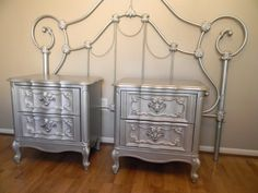 metallic painted furniture | Metallic Silver Nightstands