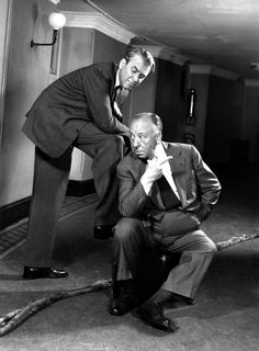 James Stewart and Alfred Hitchcock, 1955