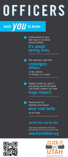What every officer wants you to know about seat belts. http://clickitutah.org