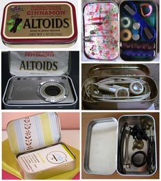 Organize with altoid tins. Mini sewing kit, place for earbuds, batteries, bobby pins. Now I'll have a bunch of decorated and labeled altoids tins in our junk drawer. My husband will think I'm even crazier then before.