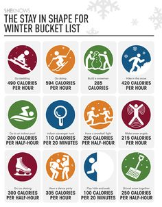 Family fitness when it's freezing, free printable with calorie counts included!