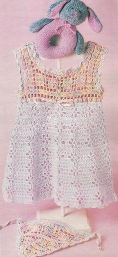 Pink and White Baby Dress with Matching Bandana free crochet graph pattern