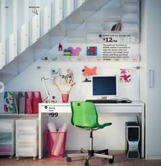 office spaces, idea, under stairs, desk, small space, homes, ikea, home offices, workspac