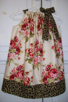 LOVE!!!!  Pillowcase Dress ROSES Cream Red Shabby Chic with CHEETAH Print