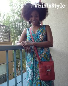 coral purse with shades of blue maxi dress. top with afro. summer ready.