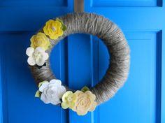 Lemon Blossoms Felt Yarn Wreath Modern Wreath by ModernWreaths, $40.00